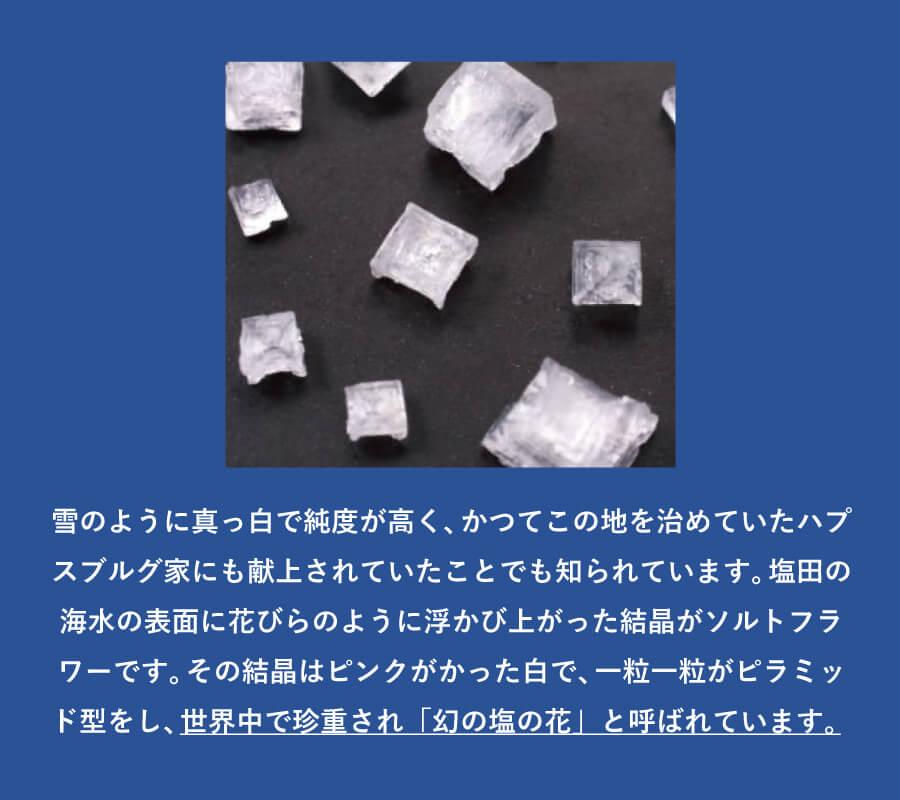 雪のように真っ白で純度が高く、かつてこの地を治めていたハプスブルグ家にも献上されていたことでも知られています。塩田の海水の表面に花びらのように浮かび上がった結晶がソルトフラワーです。その結晶はピンクがかった白で、一粒一粒がピラミッド型をし、世界中で珍重され「幻の塩の花」と呼ばれています。